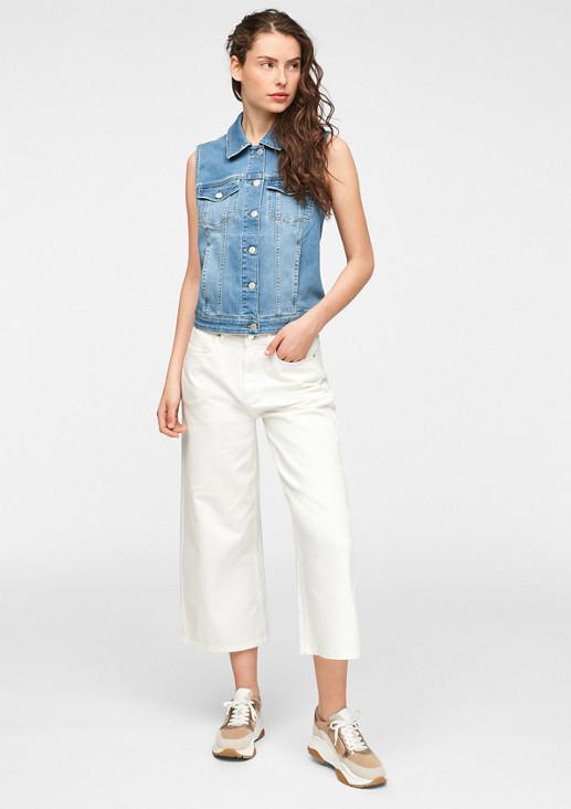 Jeansweste mit Leder-Patch