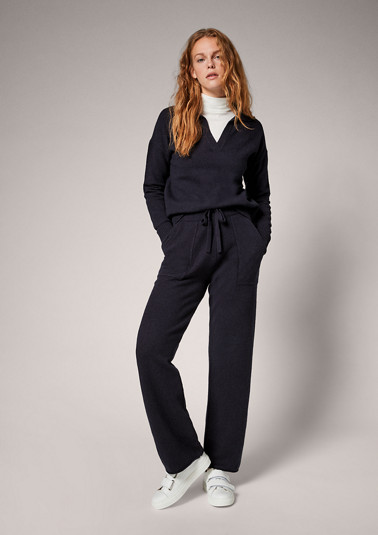 Tracksuit-style wool blend trousers from comma