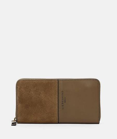 Brieftasche mit Reißverschluss aus Wildleder
