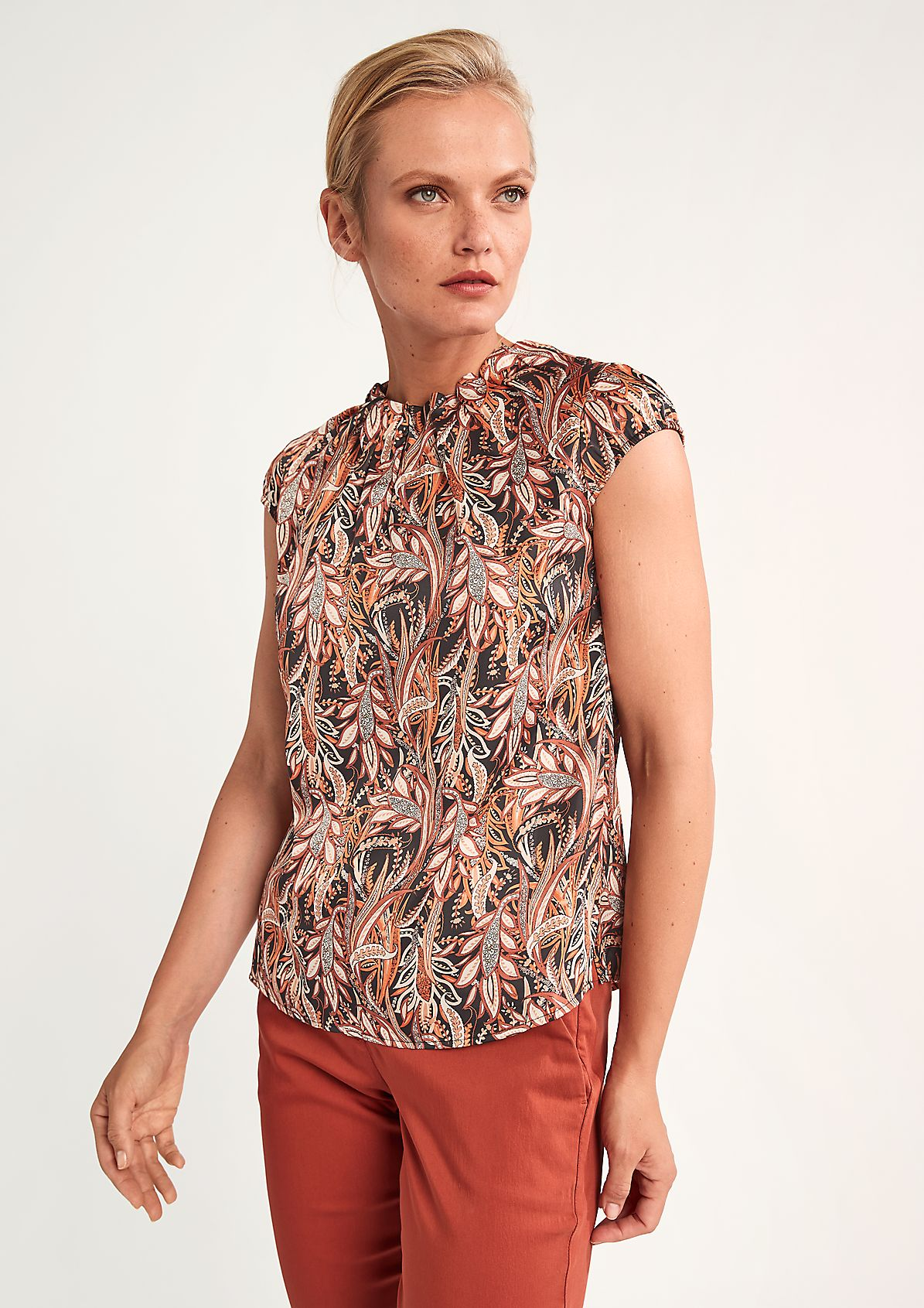 Satin blouse with a frill collar from comma
