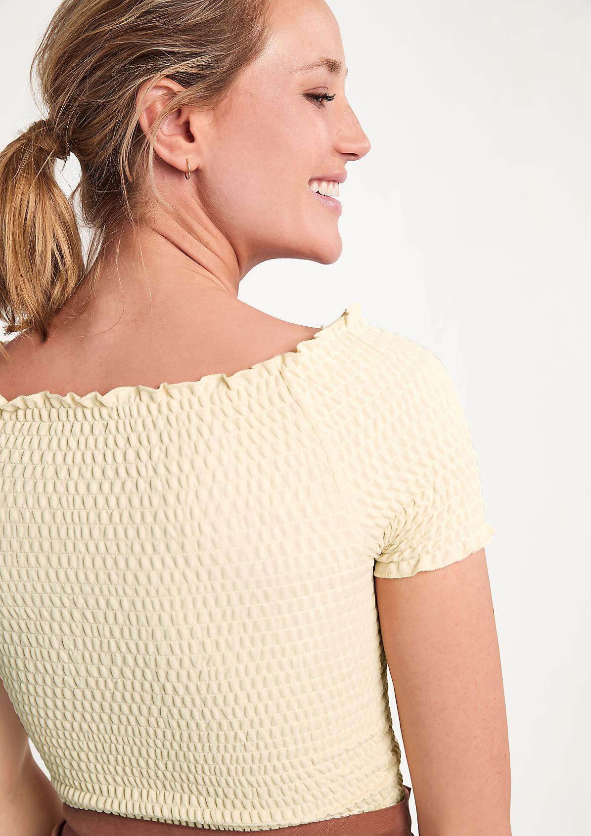 Schulterfreies Strukturshirt