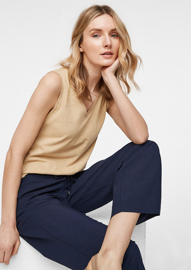 Jersey top in blended linen from comma