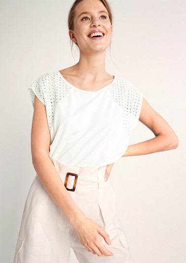 T-shirt with broderie anglaise from comma