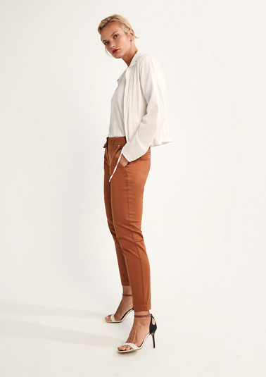 Regular: stretch trousers in a solid colour from comma