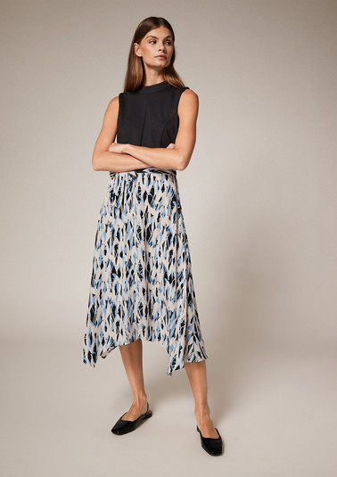 Dress with a printed skirt section from comma