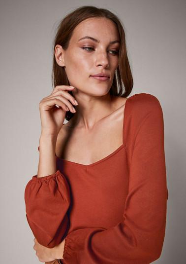 Langarmshirt mit Karreeausschnitt