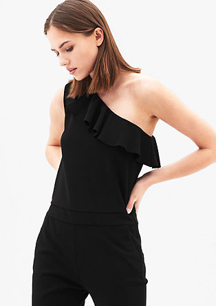 One shoulder-jumpsuit van crêpe