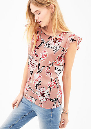 Crêpe blouse with a floral print from s.Oliver