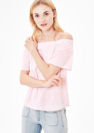 Gestreepte off-shoulder blouse
