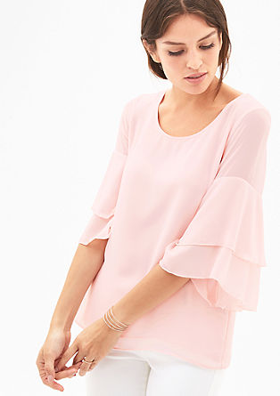 Crêpe blouse with flounce sleeves from s.Oliver