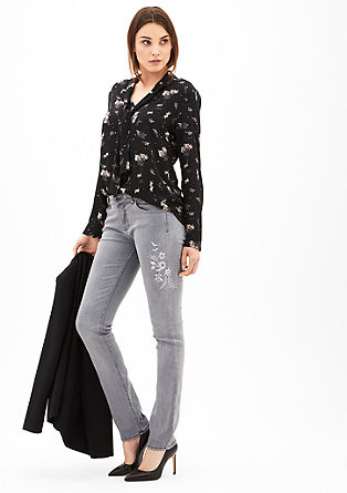 Sienna Slim Low: Embroidery-Jeans