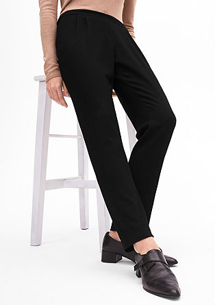 Stretchy crêpe trousers with waist pleats from s.Oliver