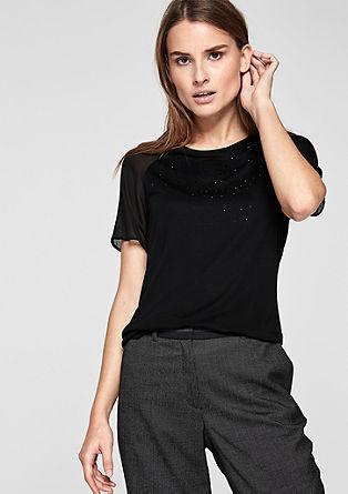 T-Shirt mit Chiffon-Detail