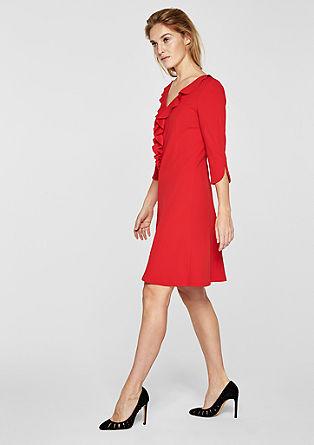 Crêpe-Kleid mit Volant-Ausschnitt