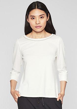 Shirt met rand van sierkralen