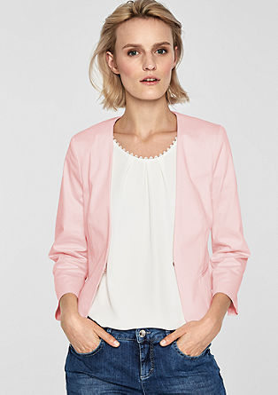 Short blazer made of cotton satin from s.Oliver
