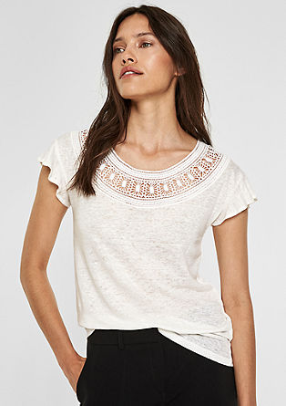 Linen top with broderie anglaise from s.Oliver