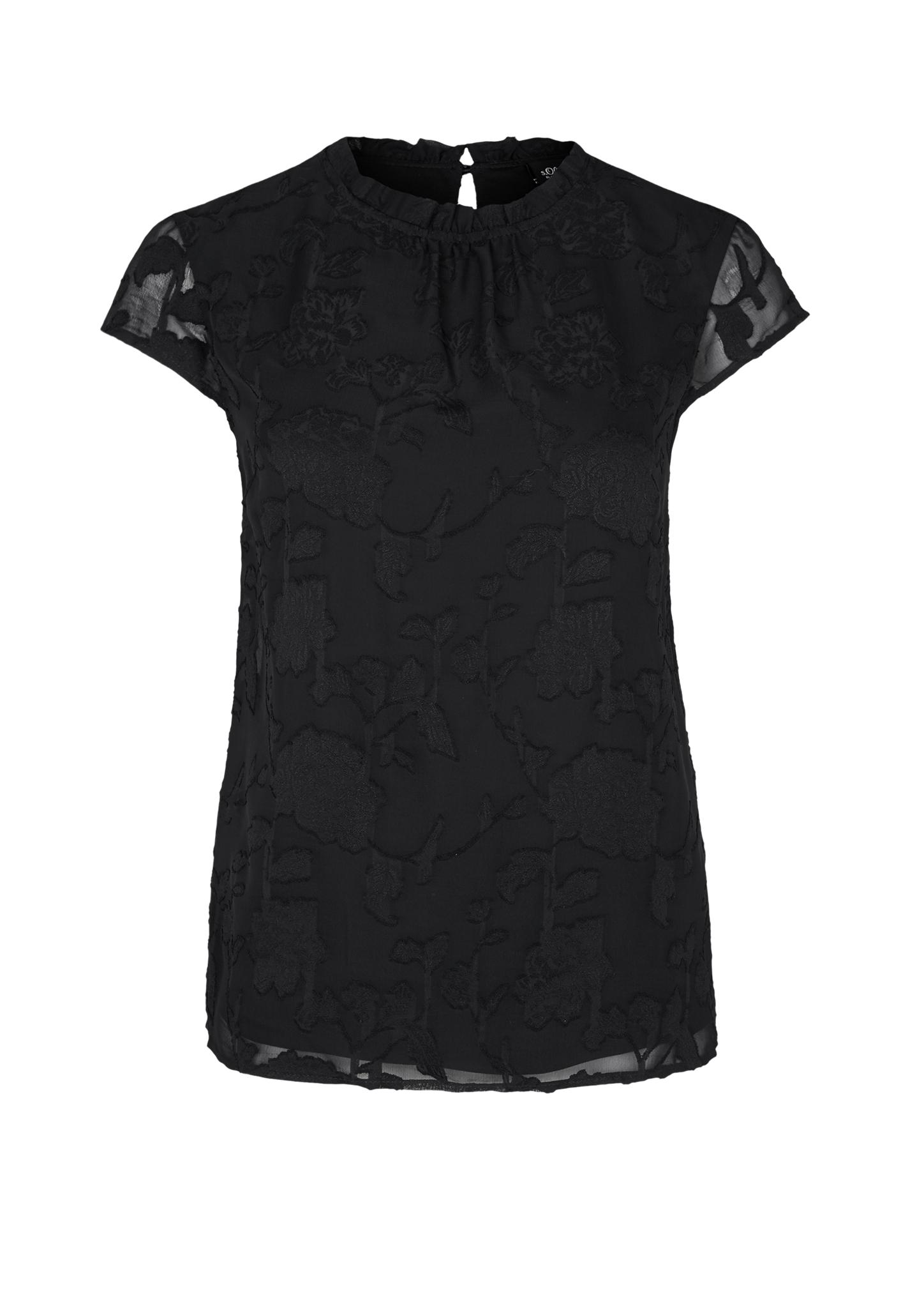 Spitzenbluse | Bekleidung > Blusen > Spitzenblusen | Grau/schwarz | Obermaterial 100% polyester| futter 100% polyester | s.Oliver BLACK LABEL