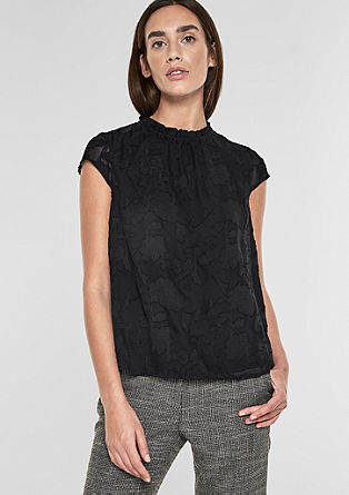 High neck-blouse van kant