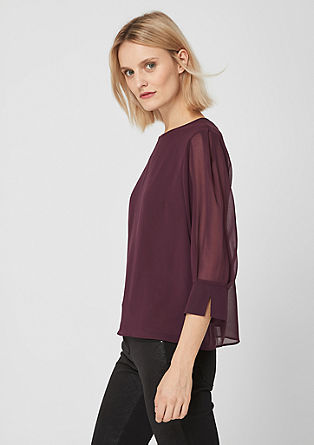 High Neck-Bluse aus Chiffoncrêpe