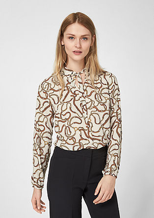 Pussycat bow blouse with a geometric pattern from s.Oliver