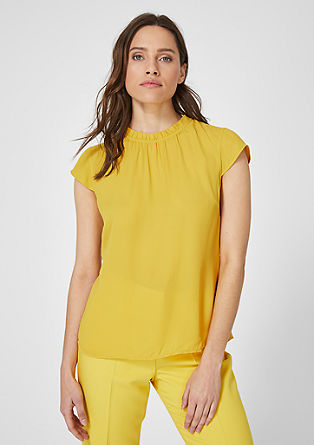 High Neck-Bluse aus Crêpe