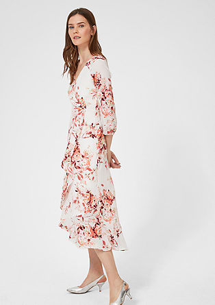 Floral dress with a flounce layer from s.Oliver
