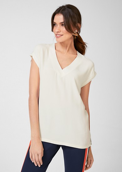 V-neck top with a blouse front from s.Oliver