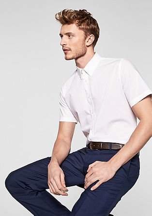 Slim Fit: Kurzarmhemd aus Popeline