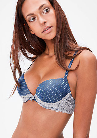 Polka dot push-up bra with lace from s.Oliver