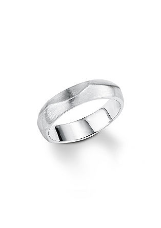 Silberner Ring mit Matt-/Glanz-Effekt