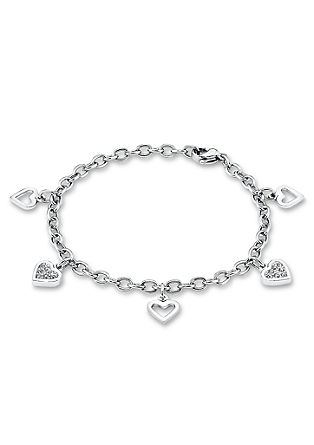 Armband van edelstaal met hartjeshangers