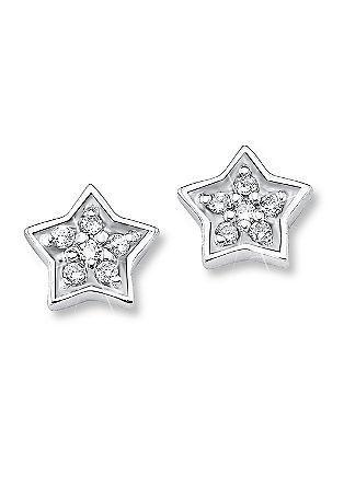 Silberne Stern-Ohrstecker