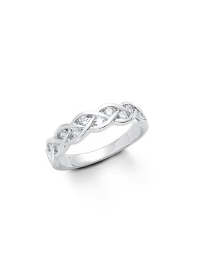Gevlochten zilveren ring met zirkonia's