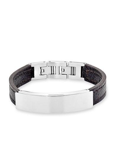Leder-Armband mit Ident-Plate