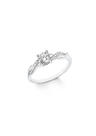 Geschwungener Silber-Ring mit Zirkonias