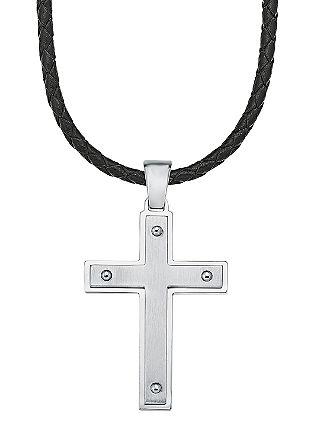 Kette mit Nieten-Kreuz aus Edelstahl
