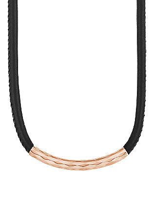 Ženska ogrlica; črna-rožnata