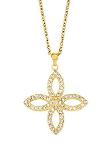 Damen Halskette Edelstahl IP Gold