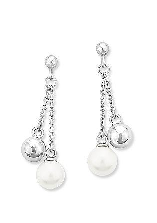 Silber-Ohrhänger mit Perlen