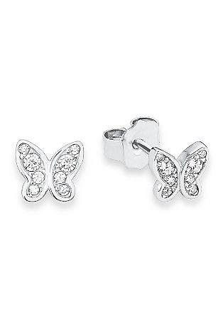 Zilveren vlinder-oorbellen