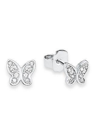 Schmetterling-Ohrringe aus Silber