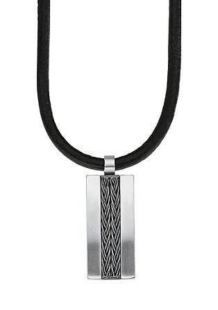 Usnjena ogrlica z obeskom dog tag iz legiranega jekla