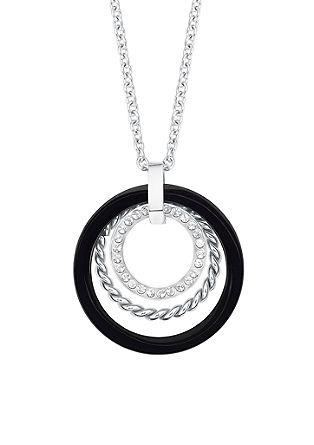 Ženska ogrlica; legirano jeklo; dve barvi
