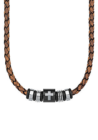 Heren ketting leer IP black