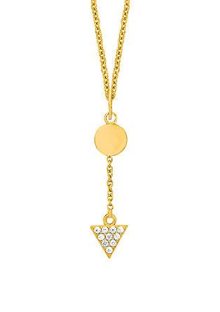 Pozlačena ogrlica z obeski geometrijske oblike