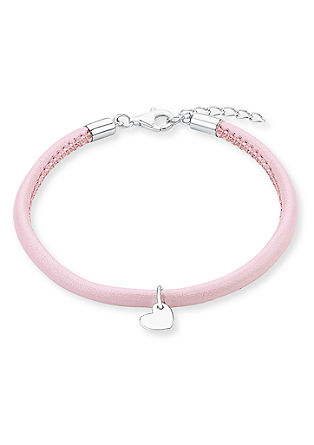 Armband aus rosafarbenem Leder