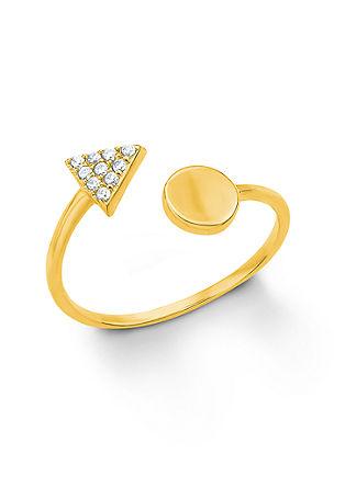 Odprt, pozlačen prstan z geometrijskim dizajnom