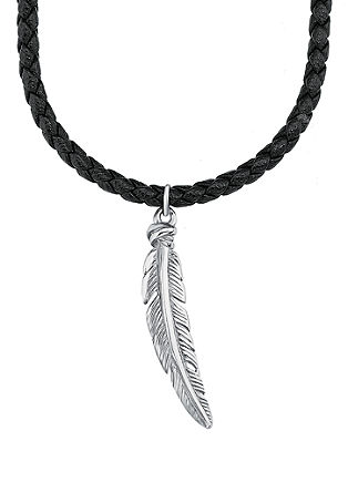 Usnjena ogrlica s peresom iz legiranega jekla