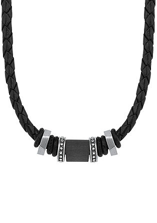 Usnjena ogrlica s karbonskimi kroglicami